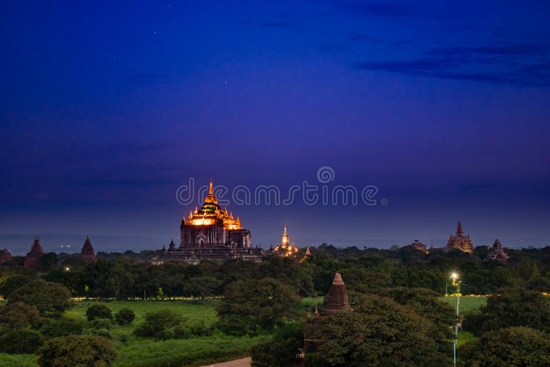 Ancient Land of Bagan view from the top of Shwesandaw Pagoda. In morning located in Bagan, Myanmar royalty free stock photography