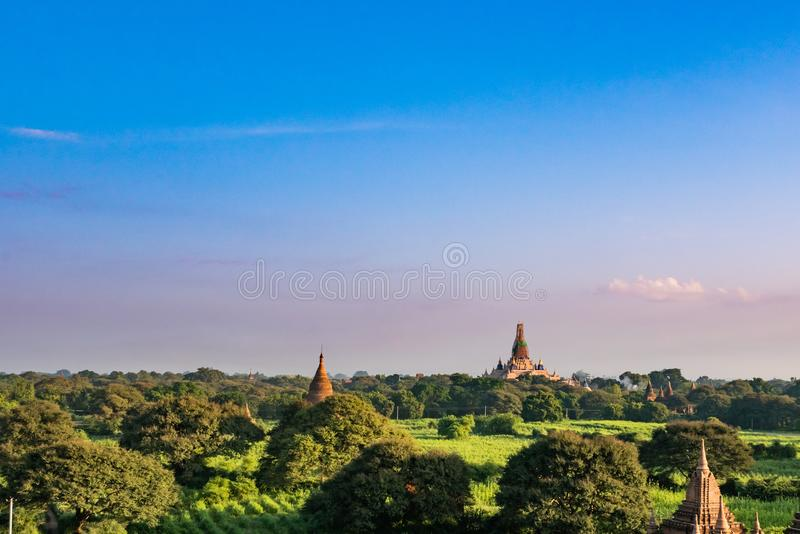 Ancient Land of Bagan view from the top of Shwesandaw Pagoda. In morning located in Bagan, Myanmar stock photography