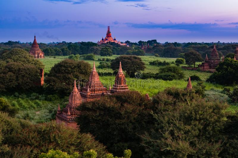 Ancient Land of Bagan view from the top of Shwesandaw Pagoda. In morning located in Bagan, Myanmar stock photos