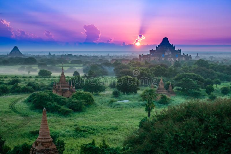 Ancient Land of Bagan view from the top of Shwesandaw Pagoda. In morning located in Bagan, Myanmar stock images