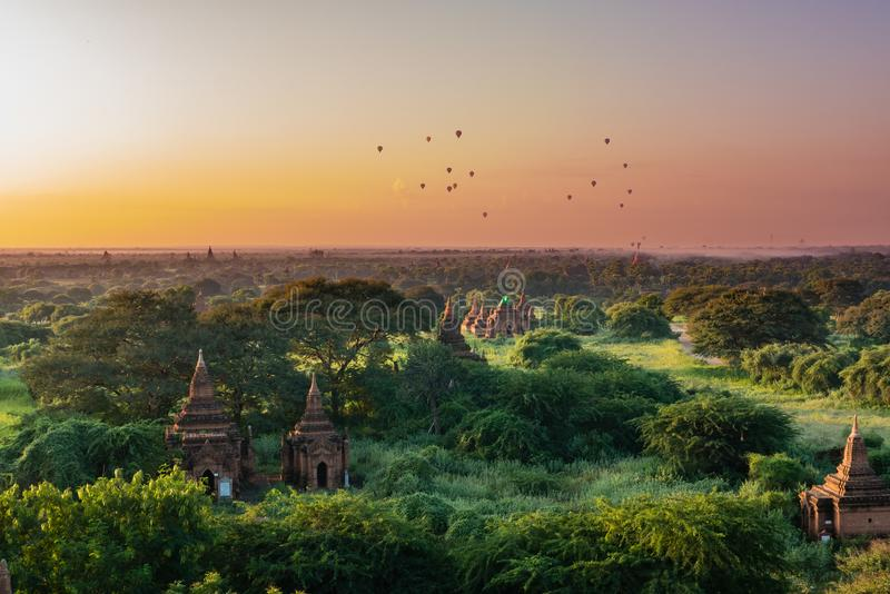 Ancient Land of Bagan view from the top of Shwesandaw Pagoda. In morning located in Bagan, Myanmar stock image