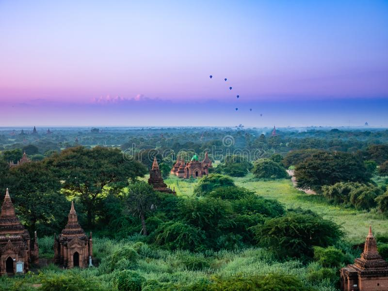 Ancient Land of Bagan view from the top of Shwesandaw Pagoda. In morning located in Bagan, Myanmar royalty free stock photo