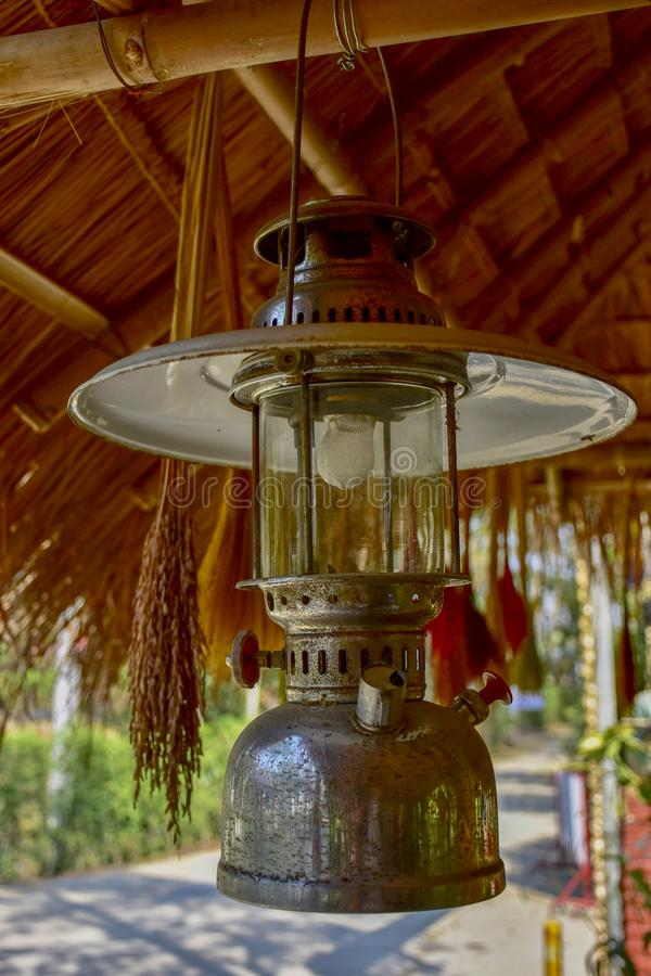 Ancient lanterns, Thai people. In the past, commonly used, called Hurricane lanterns royalty free stock photo