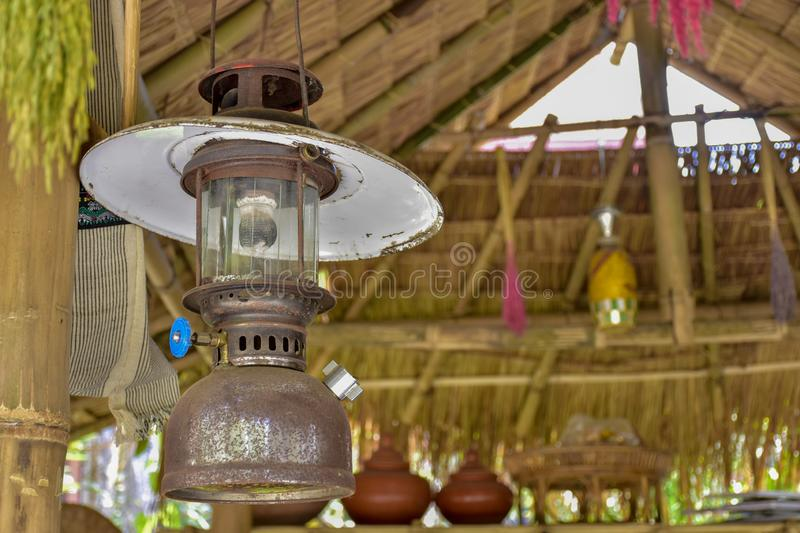 Ancient lanterns, Thai people. In the past, commonly used, called Hurricane lanterns royalty free stock image