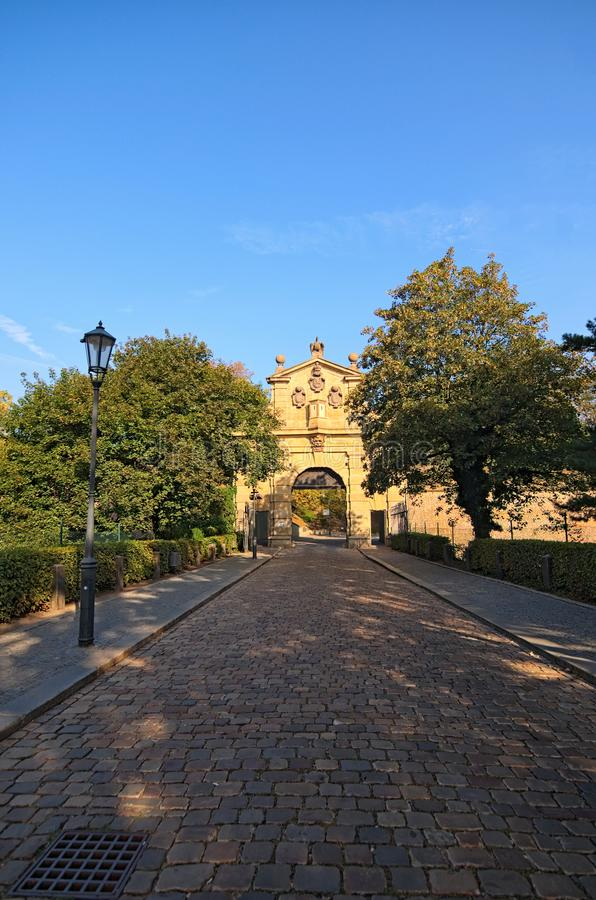 Ancient Leopold Gate to Vysehrad `Upper Castle` in summer morning. Vysehradska Brana, Prague, Czech Republic royalty free stock photography