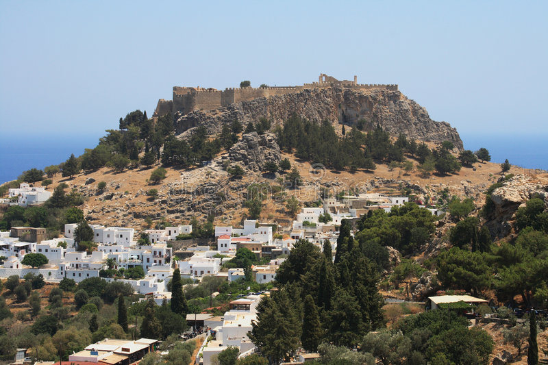 Download Ancient Lindos on Rhodes stock photo. Image of housing - 9312998