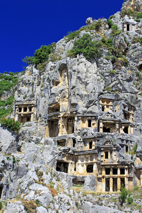 Ancient Lycian Tombs In Myra Stock Images