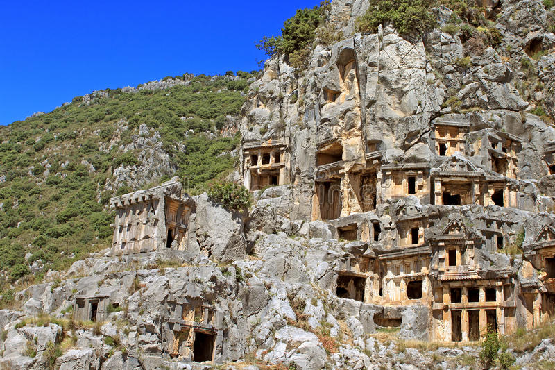 Ancient lycian tombs, Turkey royalty free stock photo