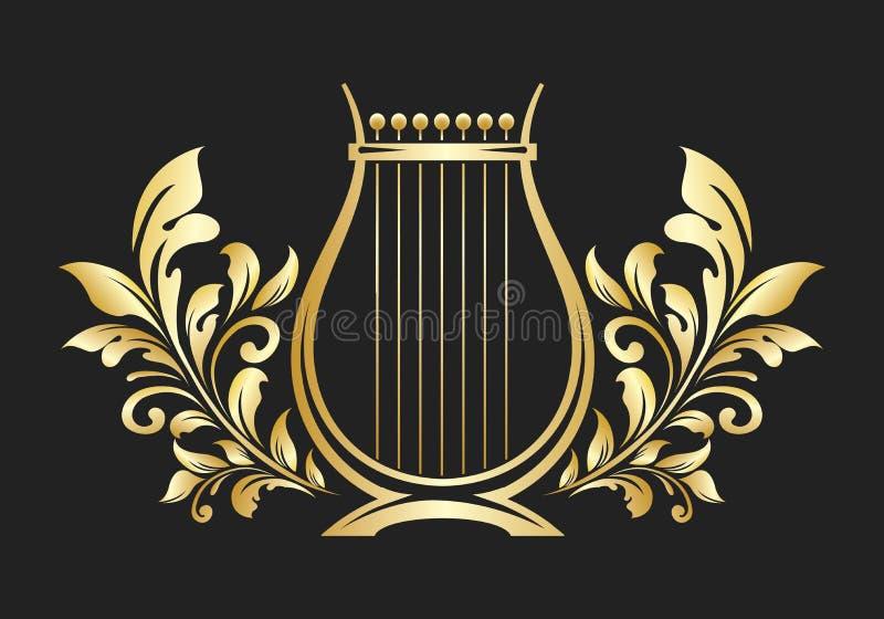 Ancient Lyre Golden Emblem stock photography