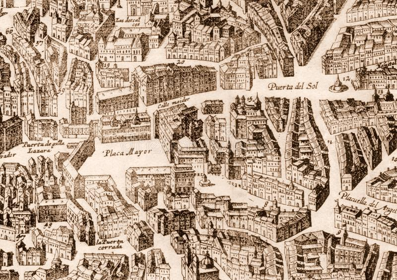 Ancient Madrid city map stock image