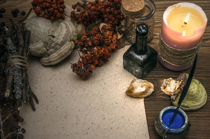 Witch doctor. Shaman. Witchcraft. Magic table. Alternative medicine. royalty free stock photos