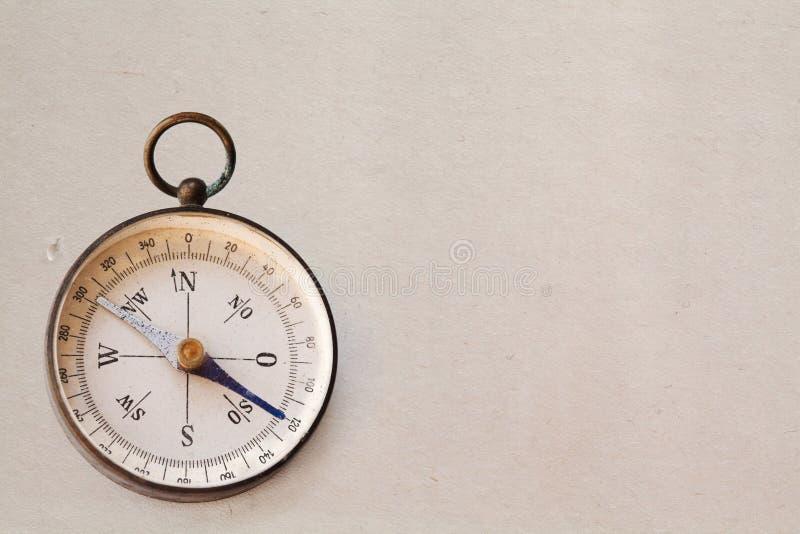 Ancient magnetic exploration compass. design element, vintage frame, copy space stock photos