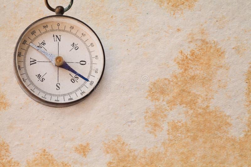 Ancient magnetic exploration compass, navigator stock photo