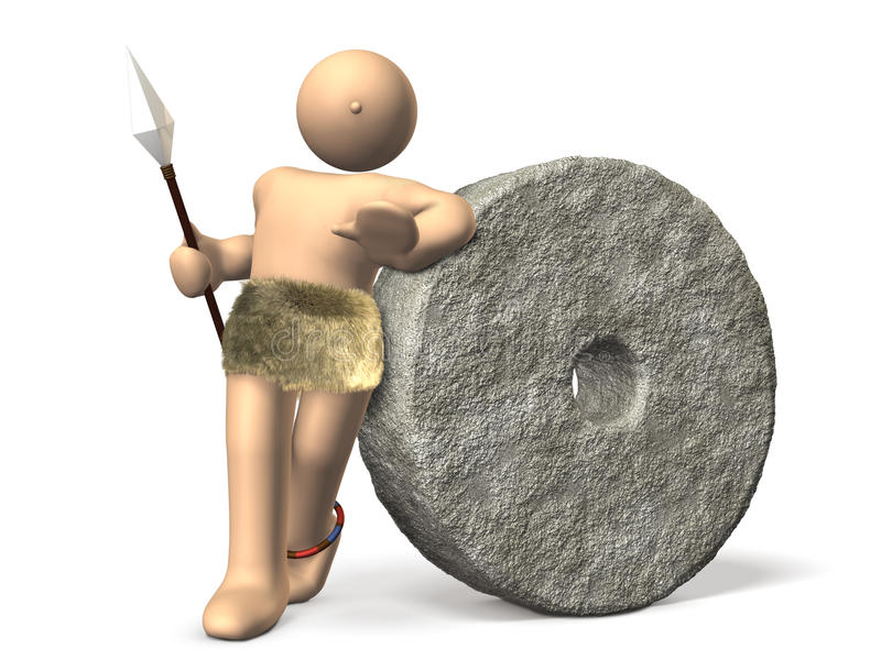 Download An Ancient Man Has Been Leaning On A Stone Money. Stock Illustration - Image: 25369579