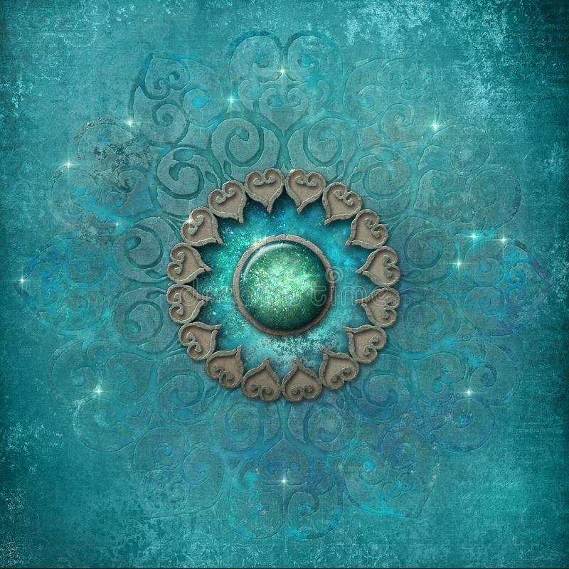 Ancient mandala in blue royalty free stock photography