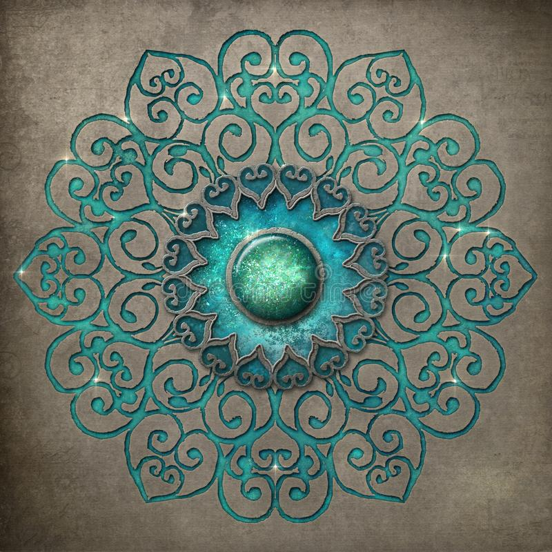 Ancient mandala etched in turquoise stock photography