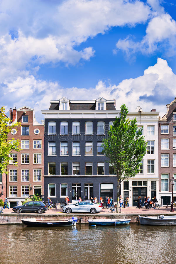 Ancient mansions at historic canal belt of Amsterdam, Netherlands. stock images