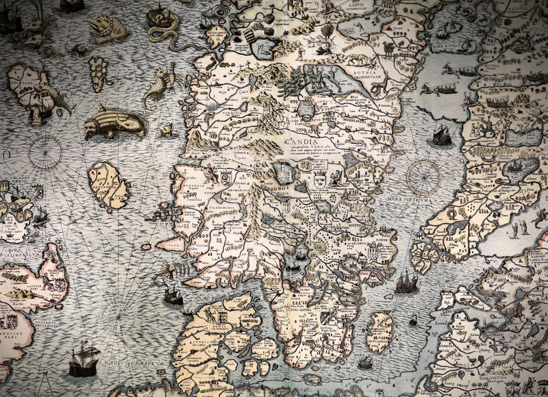 Ancient map fragment. Scandinavia Ancient map fragmant with pictures stock photos