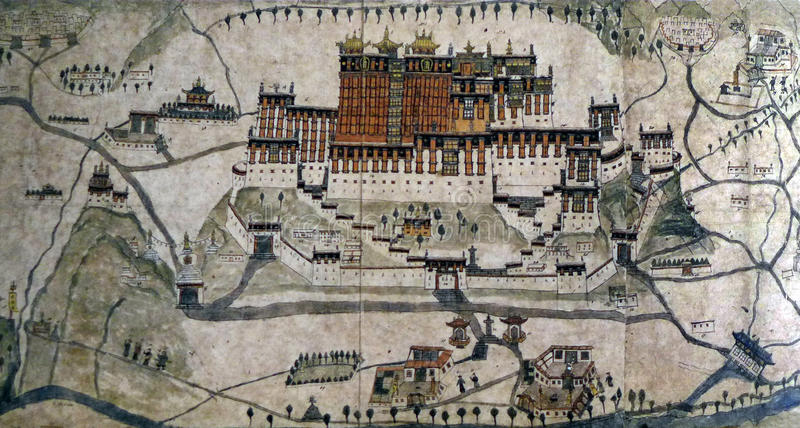 Ancient 1859 map of Lhasa, Potala Palace. A photograph showing the beautiful almost topographical map of the ancient city of Lhasa in Tibet, Asia. Drawn by a stock photo