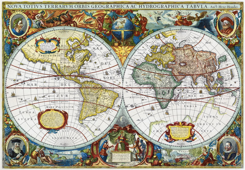 Ancient Map Of Vintage Medieval World Hondius Stock