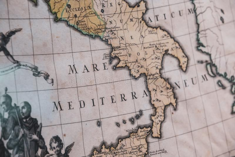 Ancient map of the Mediterranean Sea of Italy stock image