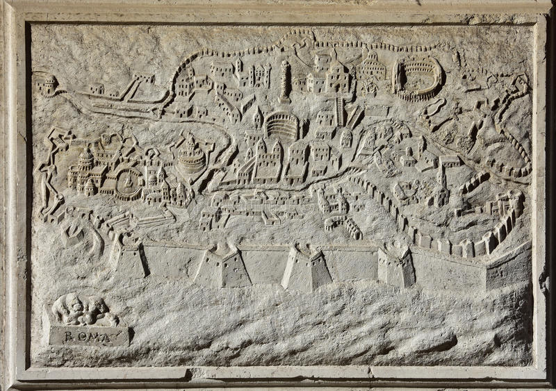Ancient map of Rome, the eternal city stock images