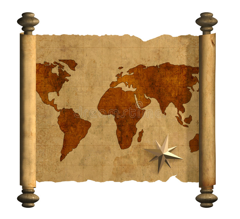 Ancient map of the world royalty free illustration
