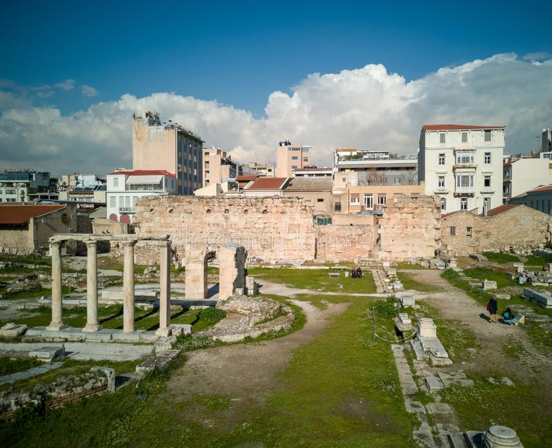 The ancient market in athens center,ruins of the market give an image of how it was back in time. Athens/greece january 21 2019 : the ancient market in athens royalty free stock photography