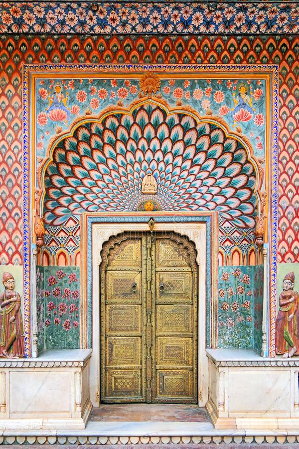 Ancient Marvelous Door at The City Palace of Jaipur in Rajastan Region of India. Peacock Patterns Ancient Door at The City Palace of Jaipur in Rajastan Region stock images