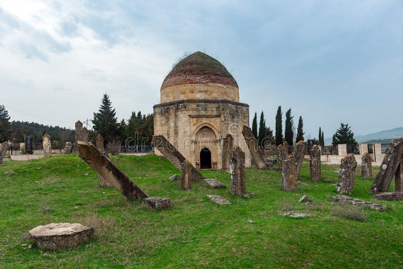 Ancient mausoleum and cemetery, Yeddi Gumbez komplex , Shamak stock photography