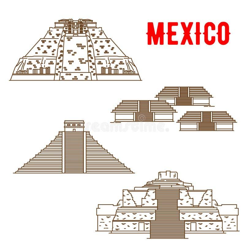 Ancient Maya and Incas culture landmarks of Mexico. Uxmal, Teotihuacan, Chichen Itza, Ek Balam. Ancient and historic culture landmarks of Mexico. Vector thin stock illustration