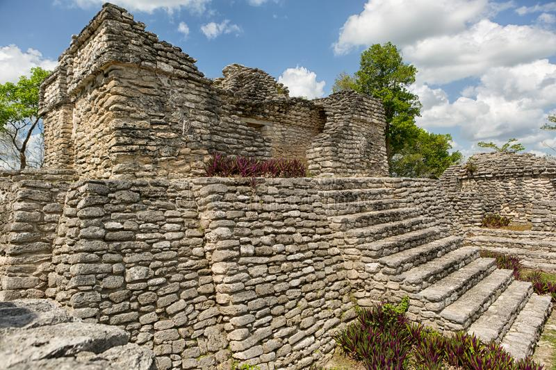 Pyramid at Kinichna archeological site in Quintana Roo Mexico. Ancient Maya temple at the Kinichna archeological site in Quintana Roo Mexico stock photography