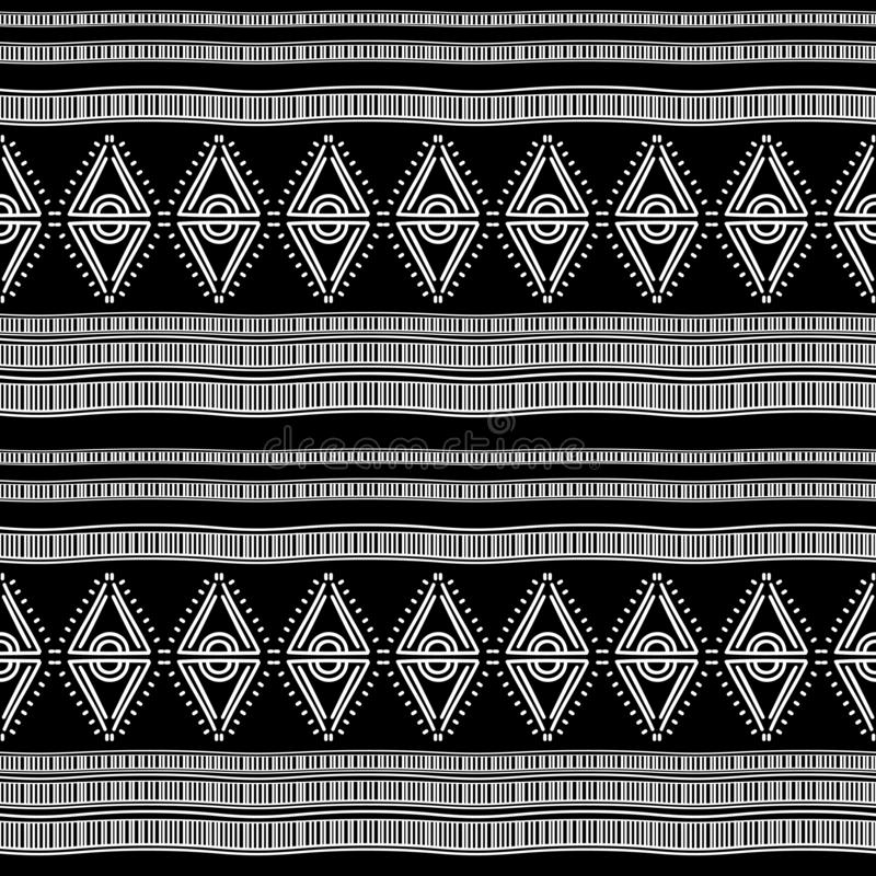 ancient maya tribal ethnic seamless pattern with black and white color vector illustration for fashion textile print and wrapping stock illustration