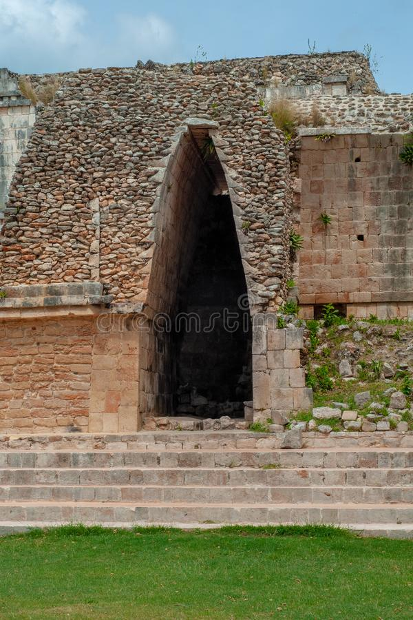 Ancient Mayan arch, made with stones, in the archaeological area of Ek Balam. In the Yucatan peninsula royalty free stock photos