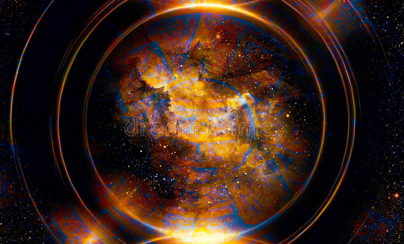 Ancient Mayan Calendar, Cosmic space and stars, abstract color Background, computer collage. Ancient Mayan Calendar, Cosmic space and stars, abstract color vector illustration
