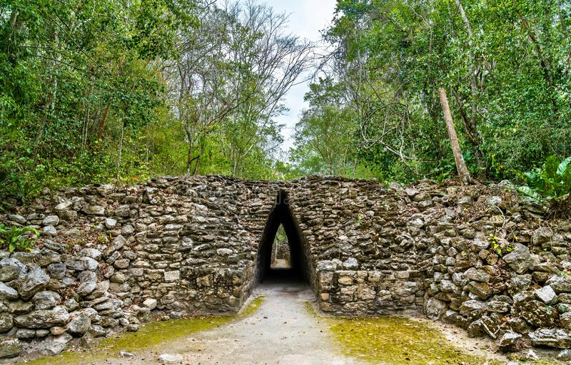Ancient Mayan ruins at Becan in Mexico stock photo
