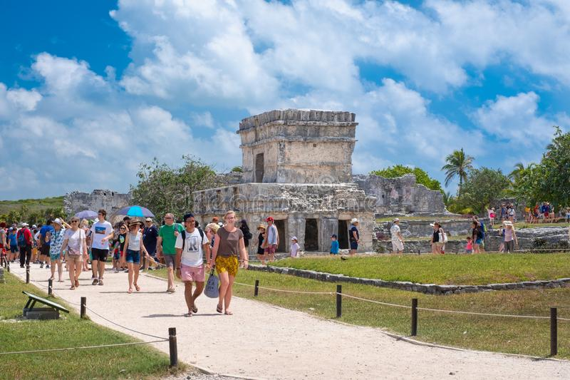The ancient mayan ruins of the city of Tulum in Mexico royalty free stock photo