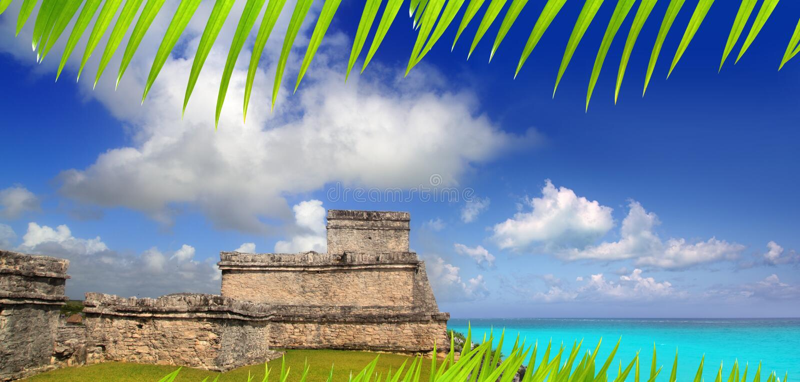 Ancient Mayan ruins Tulum Caribbean turquoise stock photography