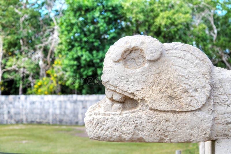 Ancient Mayan Serpent Scultpure in Chichen Itza, Mexico stock foto