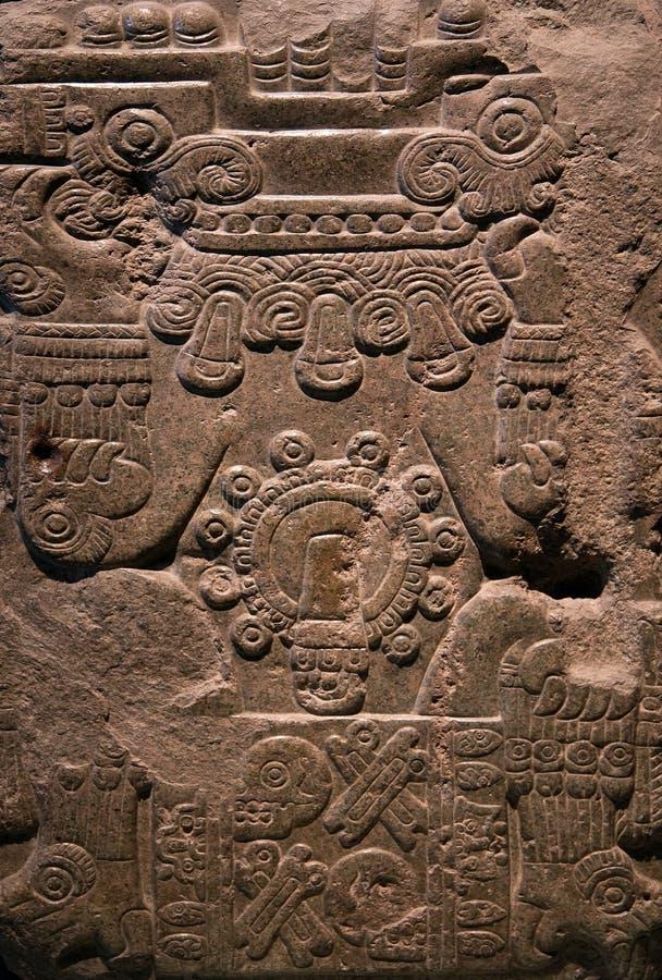 Ancient mayan stone carving stock image of human