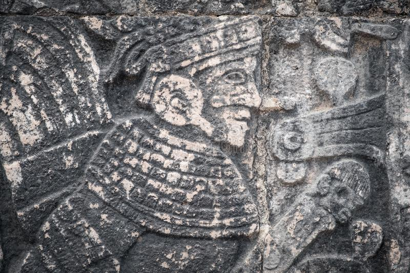 Ancient mayan stone reliefs stock photography