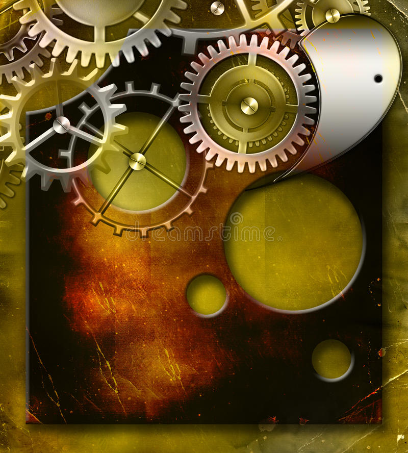 Download Ancient Mechanism With Gears Stock Illustration - Illustration: 18105636