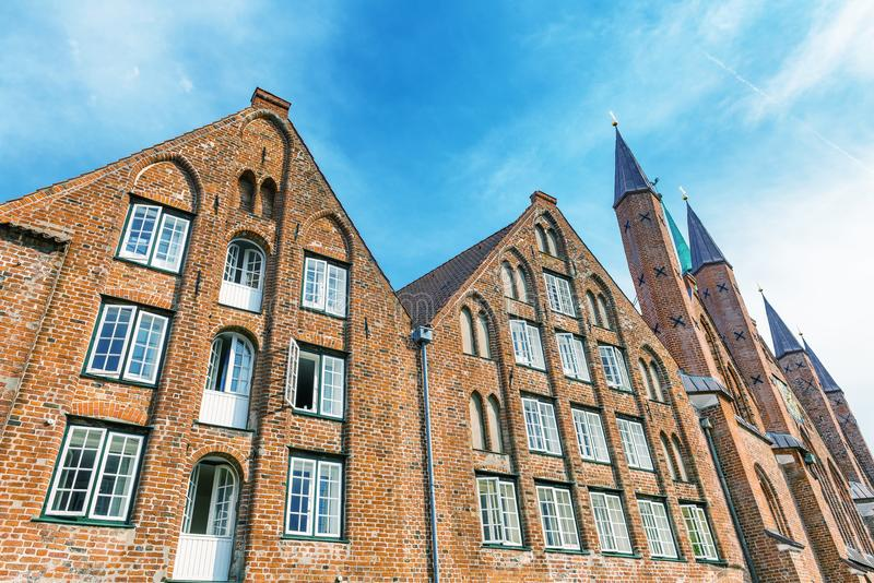 Ancient medieval buildings of Lubeck in summer season, Germany royalty free stock image