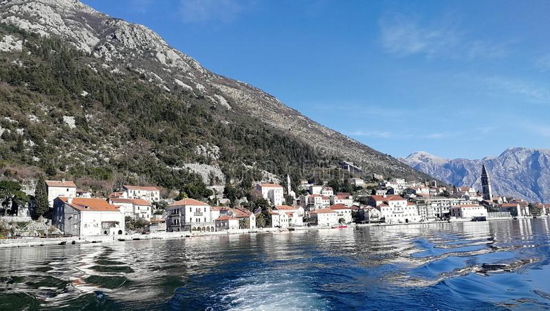 The ancient Mediterranean port of Kotor. Is surrounded by impressive walls dating from the republic of Venice, and the influence of Venetian culture on the city stock photography