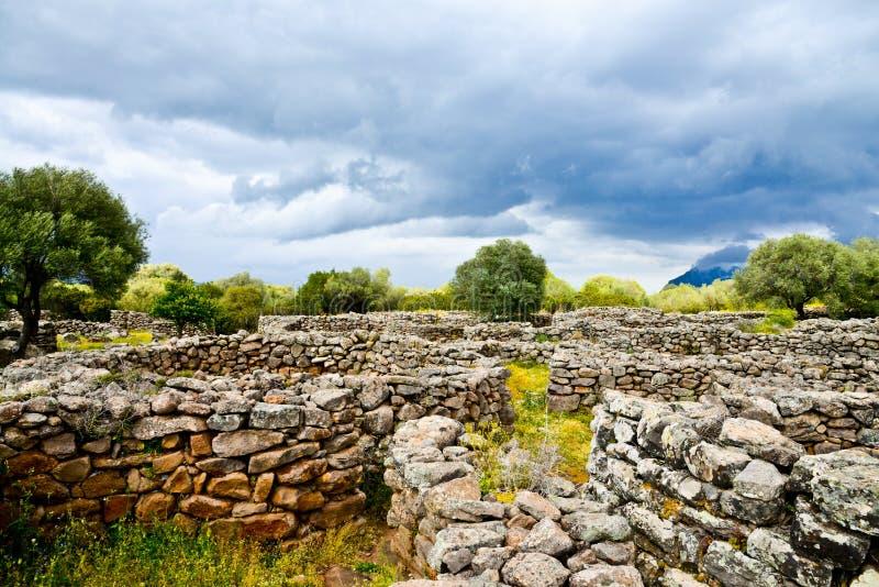 Ancient megalithic Serra Orrios Nuragic Village in Sardinia, Italy stock image
