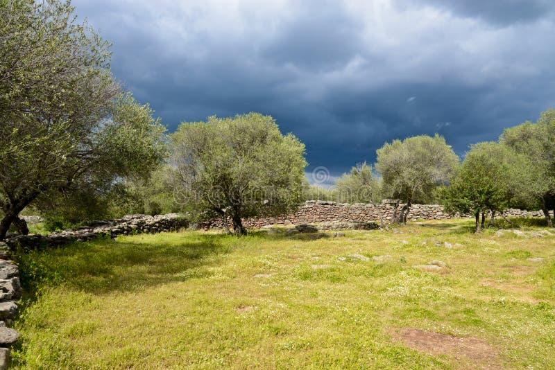 Ancient megalithic Serra Orrios Nuragic Village in Sardinia, Italy stock photo