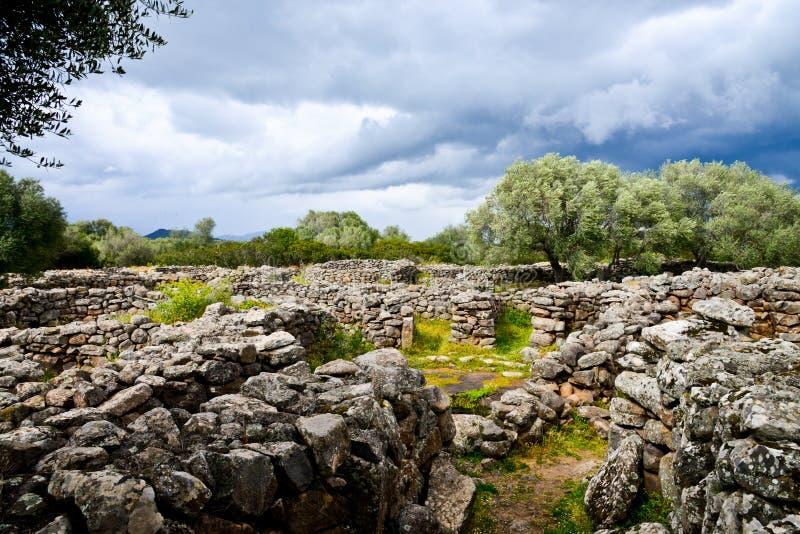 Ancient megalithic Serra Orrios Nuragic Village in Sardinia, Italy royalty free stock image