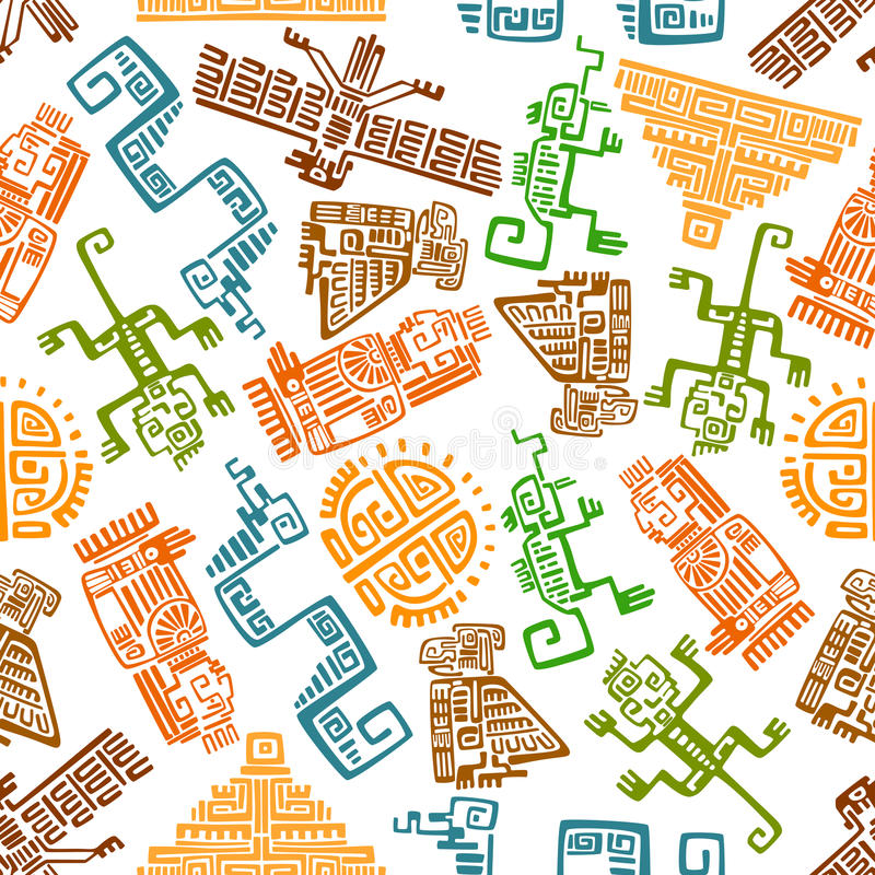 Ancient mexican seamless pattern with mayan totems vector illustration