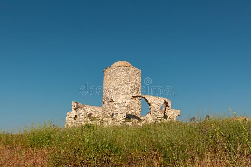 Ancient mill at Bonifacio in Corsica royalty free stock images