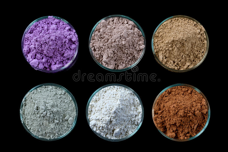 Ancient minerals - Clay of several colorsclay powder and mud mask for spa, beauty concept crop on black background. Ancient minerals - Clay of several colorsclay stock photography